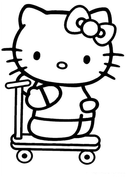 Hello kitty face coloring pages print