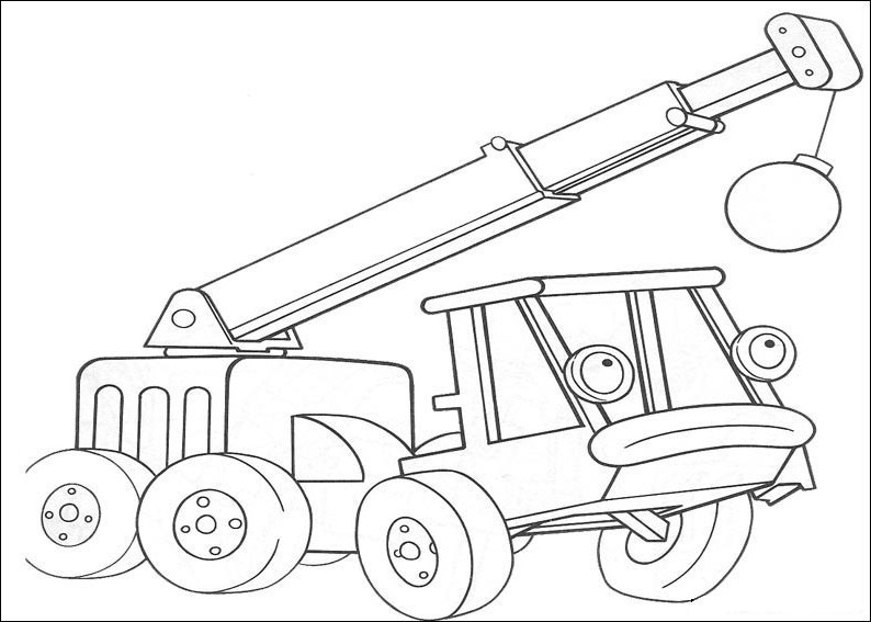 Dźwig z kulą- kolorowanka Bob Budowniczy