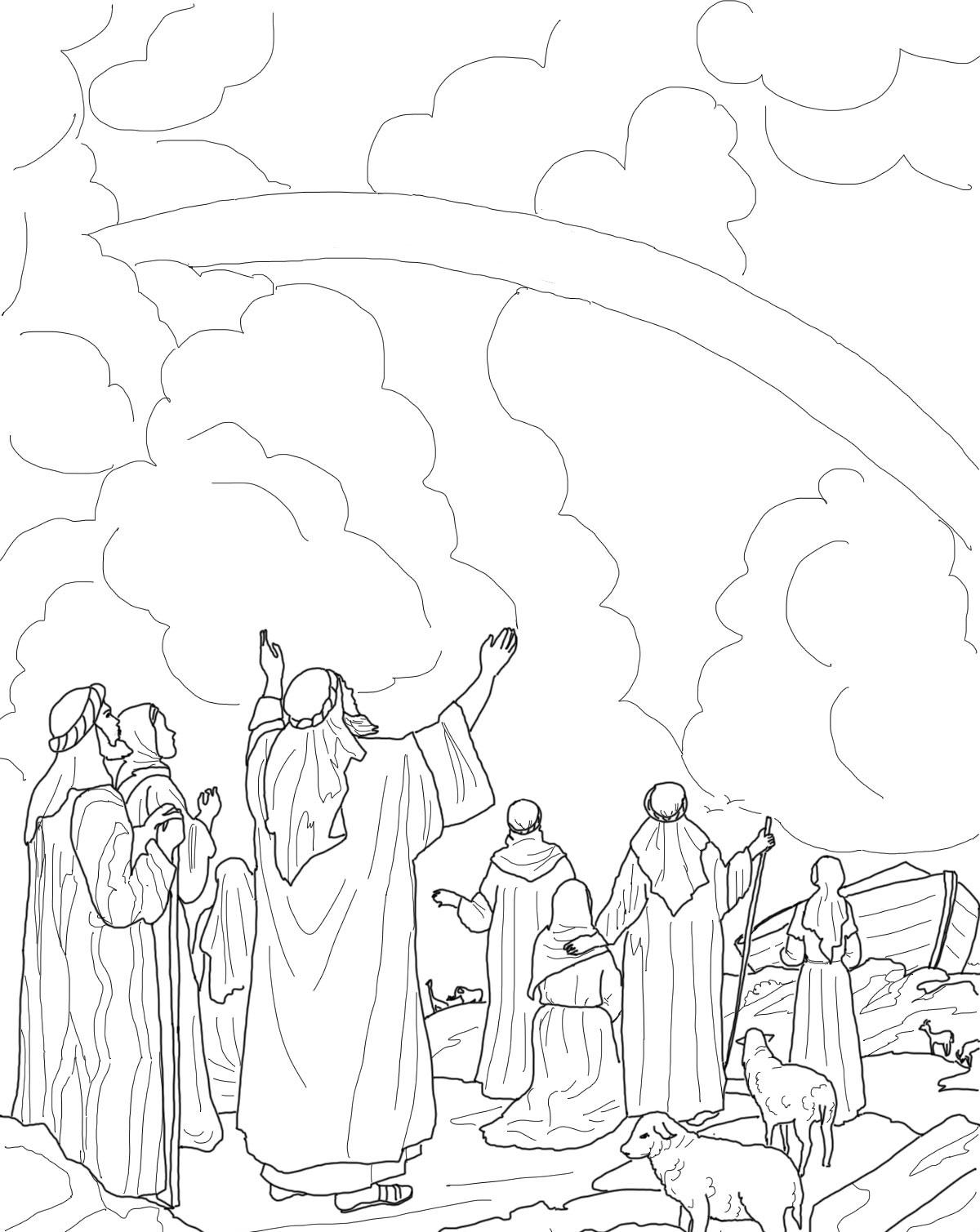 kleurplaat regenboog ark van noach een nieuw begin  ark
